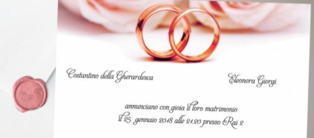 L'invito al matrimonio degli sposi Costantino e Eleonora (via Twitter - Rai 2)