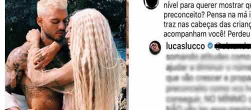Pabllo Vittar e Lucas Lucco nos bastidores do clipe 'Paraíso' (Reprodução/Instagram).