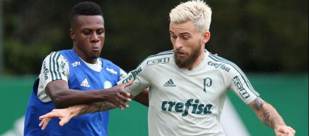 Lucas Lima treina no Palmeiras. (Foto Reprodução).