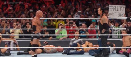Goldberg moments before belng eliminated. Image Credit: WWE/YouTube screencap
