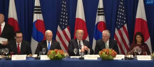 President Trump with the Prime Minister of Japan and the President of the Republic of Korea -Image credit - The White House | YouTube