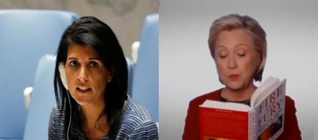 Nikki Haley, Hillary Clinton, via Twitter