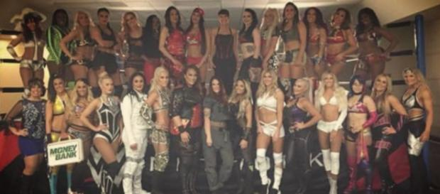 Women make history for the WWE at Royal Rumble 2018. [Photo via Layla El Young/Twitter]
