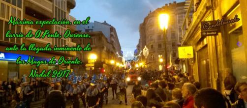 Los Magos salieron de la estación Empalme, enfilando por el barrio de A Ponte, antes de cruzar el Puente Romano y llegar al centro de Ourense