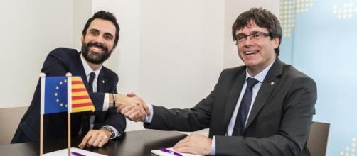 Roger Torrent reunido con Carles Puigdemont en Bélgica.