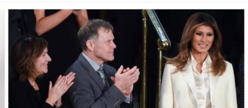 Melania Trump attends State of the Union Address. (Image via channel 90 seconds news/YouTube screencap).