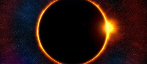 Aspecto de un eclipse de Sol total. Public Domain.