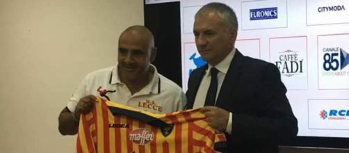 Il direttore sportivo del Lecce, Meluso e il mister, Liverani.
