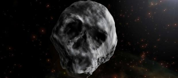 Concepção artística do asteroide, que possui a forma de um crânio humano