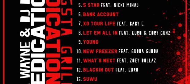 Dedication 6 mixtape Tracklist Image Via Twitter/@LilTunechi