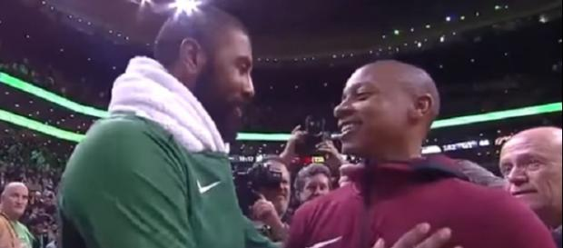 Kyrie Irving greets Isaiah Thomas after the Celtics beat Cavaliers (Image Credit: Fruit Hoops/YouTube)