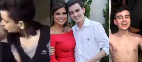 A combinação de fotos apresenta Dudu com seu suposto ex, com Mara Maravilha e no programa ''Pânico na Band''