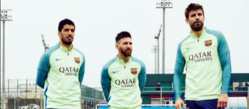 Luis Suárez, Leo Messi y Gerard Piqué durante un entrenamiento
