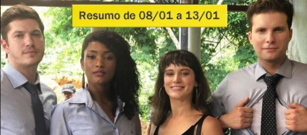 Na imagem Bruno, Raquel, Clara e Patrick, que serão peças fundamentais nos próximos capítulos. (Reprodução/Montagem/Telma Myrbach)