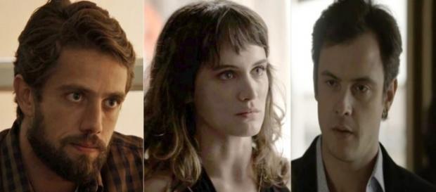Gael tem ataque de ciúmes com Clara e Renato. (Foto: Divulgação TV Globo)