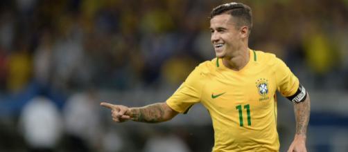 Philippe Coutinho con la maglia della Nazionale brasiliana