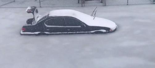 Cars were left abandoned as flood waters froze them in place in Revere. [Image via Twitter @Adam28691}