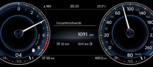 Il tachimetro di un'automobile