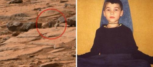 Imagem de suposta estátua achada em Marte (à esq.) e Boriska Kipriyanovich quando criança (à dir.)