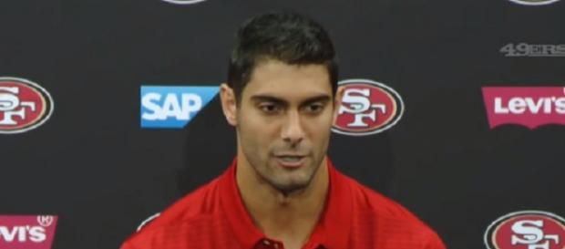 Jimmy Garoppolo was traded to the 49ers for a 2018 second-round pick (Image Credit: San Francisco 49ers/YouTube)