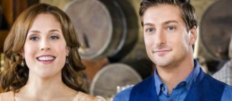 Lori Loughlin and Erin Krakow welcome new Mountie, Nathan Grant (Kevin McGarry). [image source: Hallmark Channel - YouTube]