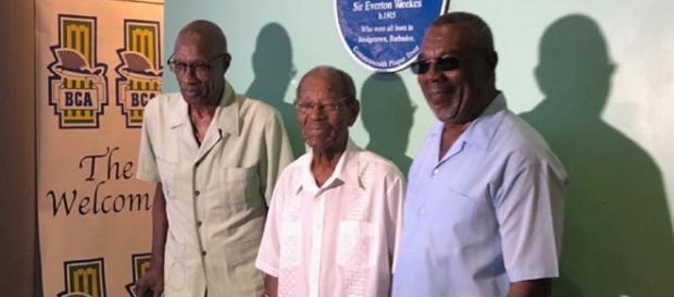 Cricket legends Sir Wesley Hall, Sir Charlie Griffith and Mr.Desmond Haynes. Image credit (Supplied: BTMI)