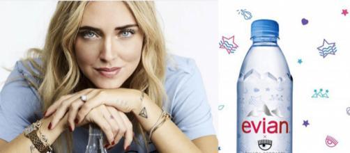 Pioggia di polemiche per la bottiglietta d'acqua Evian, sponsorizzata da Chiara Ferragni.