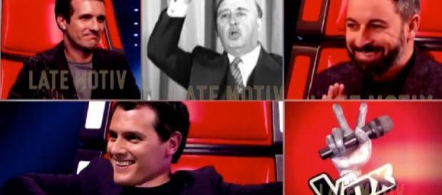 Casado, Franco, Abascal y Rivera en 'La Vox'. / TWITTER