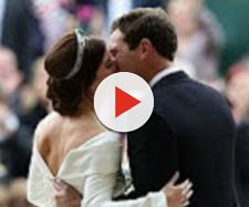 Princess Eugenie was proud to display the scars on her back on her royal wedding day. [Image source: BBC News-YouTube]