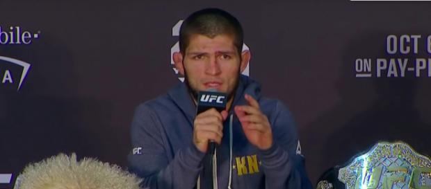 UFC lightweight champion Khabib Nurmagomedov speaks to the media after UFC 229. - [ESPN/YouTube screenshot]