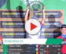 Il podio del Lombardia: Pinot vincitore davanti a Nibali e Teuns
