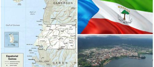 Mapa y algunas imágenes aéreas de Guinea Ecuatorial.