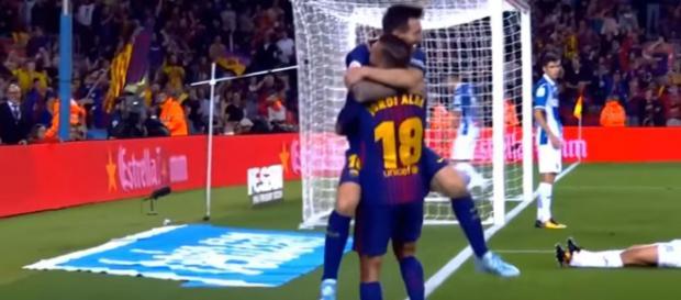 Leo Messi e Jordi Alba [Imagem via YouTube]