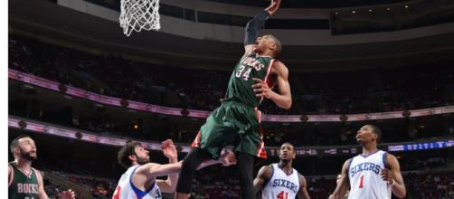 Milwaukee's Greek Freak continues to sky high in his NBA career. - [NBA / YouTube screencap]
