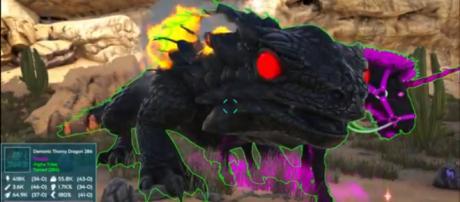 A Demonic Thorny Dragon in ARK's Primal Fear Pyria mod [Image source: KingDaddyDMAC/YouTube]