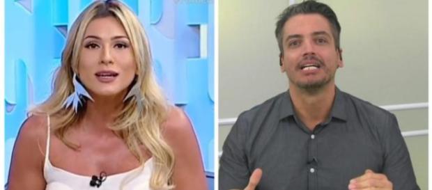 Discussão ao vivo entre Leo Dias e Lívia Andrade. (foto reprodução)
