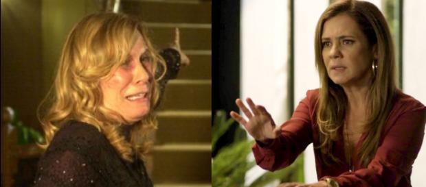 Dulce (Renata Sorrah) e Laureta (Adriana Esteves) em 'Segundo Sol'. (foto reprodução)