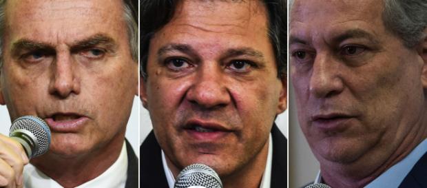 Bolsonaro, Haddad e Ciro, os três maiores candidatos à Presidência da República.