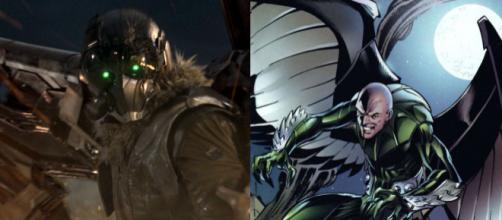 Adrian Toomes, o Abutre. Na esquerda a versão dos cinemas e na direita a dos quadrinhos.