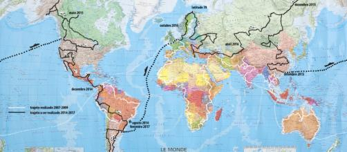 Mapa simulando uma volta ao mundo.
