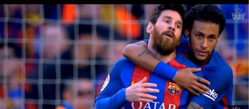 Neymar e Messi [Imagem via YouTube]