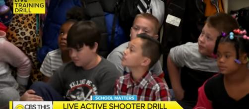 CBS This Morning gives viewers and parents a look at a rarely seen active shooter drill from a classroom. [Image source: CBSThisMorning-YouTube]