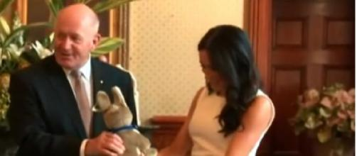 Prince Harry and Meghan Markle receive first baby gift [Image courtesy – ABC News Australia YouTube video]