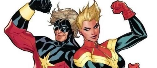 Carol Danvers, a atual Capitã Marvel, e Mar-Vell, o antigo dono do manto.