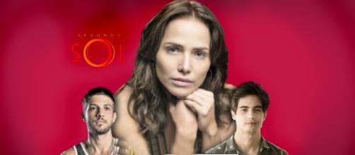 Depois de contar a verdade sobre Valentim, Rosa enfrenta a fúria de Laureta. (Reprodução: Mais! Mais! TV)