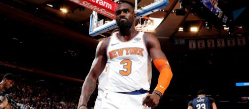 Tim Hardaway Jr. came up big in his team's opening night win in NYC. [Image via MSG Networks/YouTube]