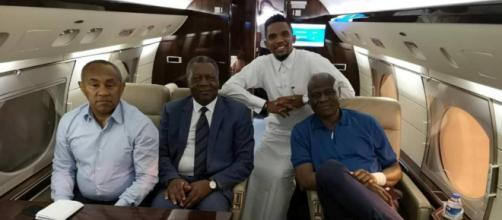 Le président de la CAF le vice-président, Samuel Eto'o, et Maitre Dieudonné Happi (c)Google