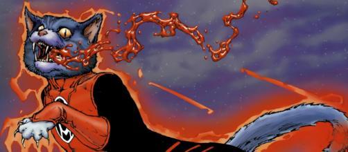 O gato Dex-Starr, um dos Lanternas Vermelhos.
