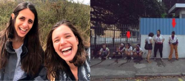 A atriz e a namorada, juntamente com outras ativistas fotografadas no momento em que urinam na rua. (Reprodução/Instagram)