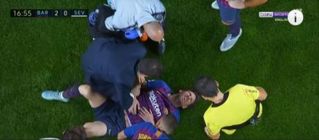 Leo Messi lesionou-se [Imagem via YouTube]